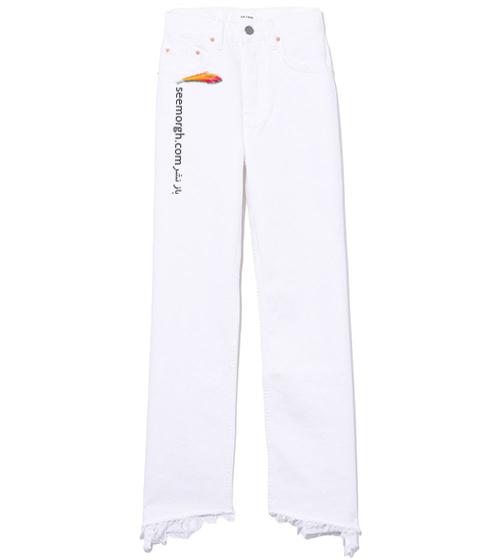 شلوار جین سفید از بالا گشاد با لبه های ریشه دار