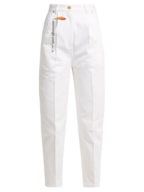 شلوار جین سفید فاق بلند