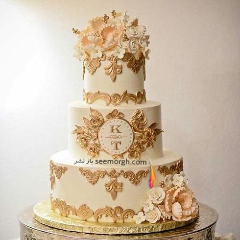 کيک عروسي,کيک عروسي به رنگ طلايي,کيک عروسي با تم طلايي,کيک عروسي با تم طلايي و کرم