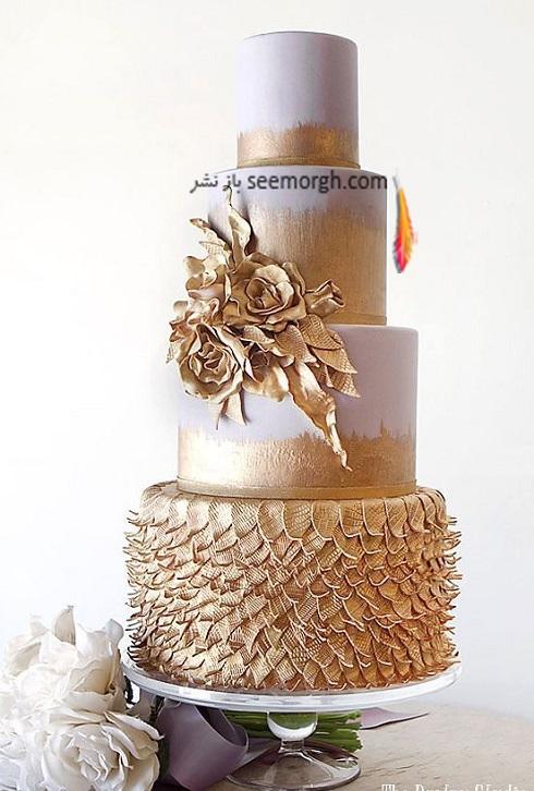 کيک عروسي طلايي,کيک عروسي,مدل کيک عروسي,مدل کيک عروي طلايي,کيک عروسي با ترکيب سفيد و گل هاي طلايي
