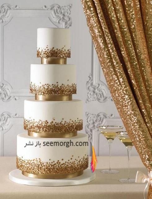 کيک عروسي طلايي,کيک عروسي به رنگ طلايي,کيک عروسي به رنگ طلايي