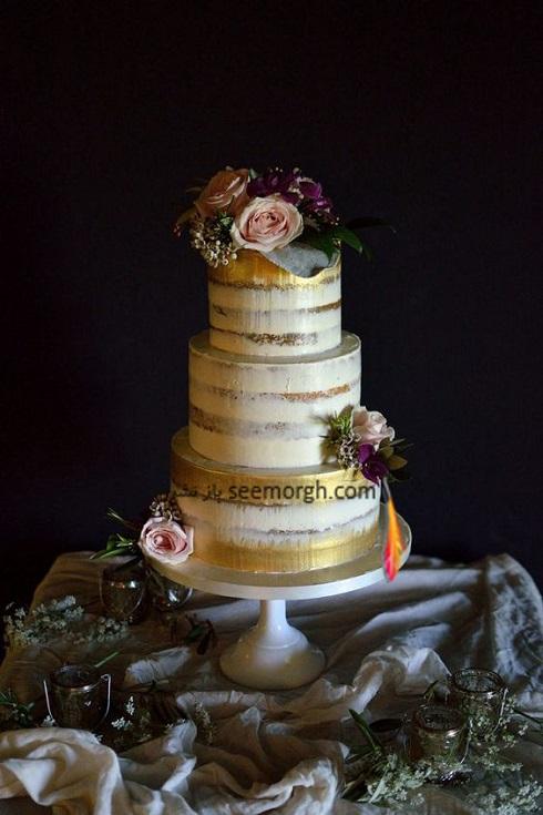 کيک عروسي,مدل کيک عروسي,کيک عروسي به رنگ طلايي,کيک عروسي با ترکيب رنگ کرم و طلايي