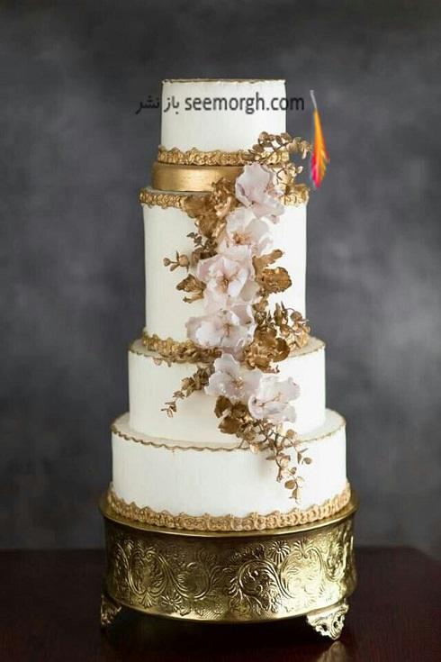کيک عروسي,مدل کيک عروسي,کيک عروسي به رنگ طلايي,کيک عروسي با تم طلايي و سفيد
