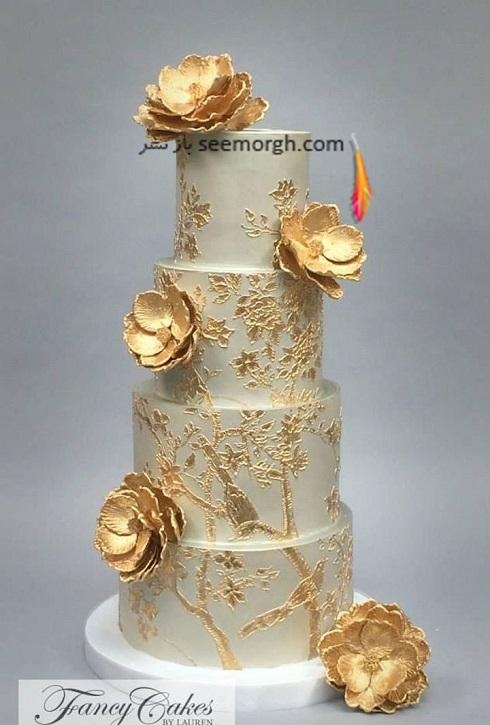 کيک عروسي,کيک عروسي با رنگ طلايي,کيک عروسي با ترکيب رنگي طلايي و خاکستري