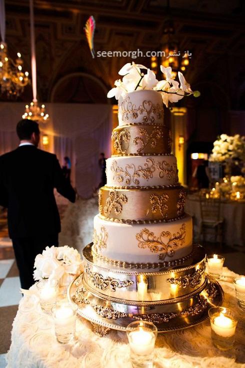 کيک عروسي,کيک عروسي با رنگ طلايي,کيک عروسي شيک با ترکيب سفيد و طلايي