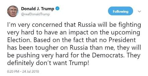 افشاگری توییتری ترامپ درباره دخالت روس ها در انتخابات ریاست جمهوری