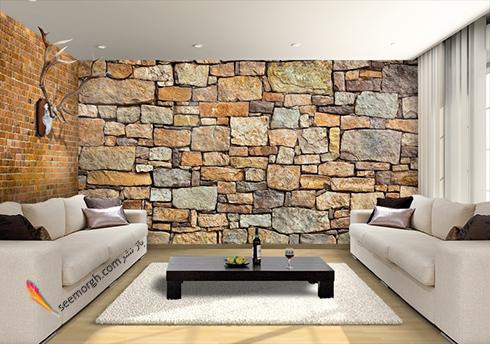 کاغذ دیواری سه بعدی با طرح سنگ های بزرگ برای اتاق نشیمن,کاغذ دیواری سه بعدی,مدل کاغذ دیواری سه بعدی,طرح های مختلف کاغذ دیواری سه بعدی