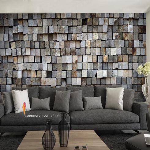 کاغذ دیواری سه بعدی با طرح سنگ های تلفیقی برای اتاق نشیمن,کاغذ دیواری سه بعدی,کاغذ دیواری سه بعدی تلفیقی