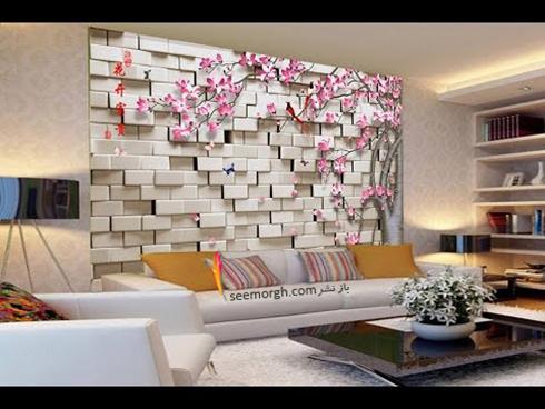کاغذ دیواری سه بعدی با طرح تلفیقی سنگ و گل برای اتاق نشیمن,کاغذ دیواری سه بعدی,کاغذ دیواری سه بعدی تلفیقی