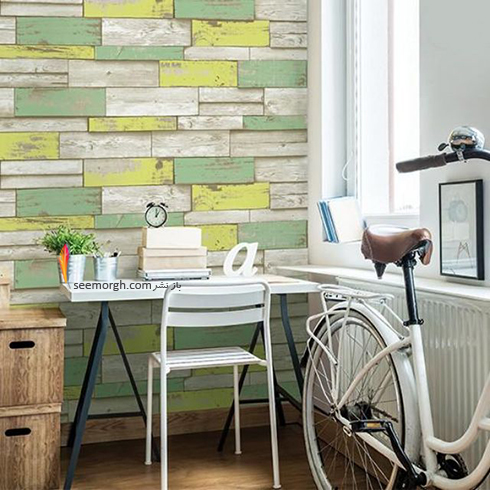 کاغذ دیواری سه بعدی با طرح سنگ با ترکیب رنگی سبز و لیمویی برای اتاق کار,کاغذ دیواری سه بعدی,جدیدترین مدل کاغذ دیواری سه بعدی,کاغذدیواری سه بعدی برای اتاق کار