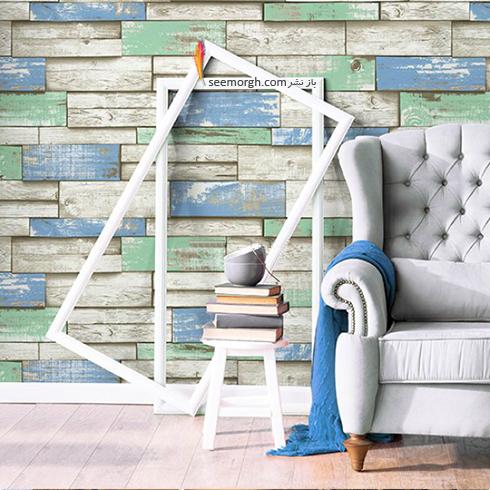 کاغذ دیواری سه بعدی با طرح سنگ با ترکیب رنگی سبز و آبی برای اتاق خواب,کاغذ دیواری سه بعدی,جدیدترین مدل کاغذ دیواری سه بعدی