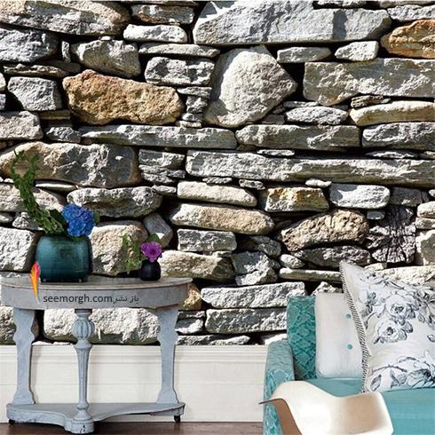 کاغذ دیواری سه بعدی با طرح سنگ های دریایی برای اتاق نشیمن,جدیدترین مدل های کاغذ دیواری سه بعدی