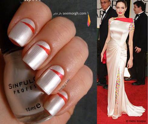 طراحي ناخن,مدل طراحي ناخن,مدل هاي طراحي ناخن,طراحي ناخن آنجلينا جولي,طراحي ناخن دو رنگ به سبک آنجلينا جولي Angelina Jolie