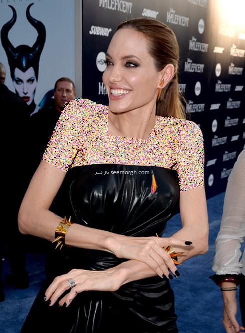 طراحي ناخن,مدل طراحي ناخن,مدل هاي طراحي ناخن,طراحي ناخن آنجلينا جولي,لاک ناخن تک رنگ مشکي به سبک آنجلينا جولي Angelina Jolie