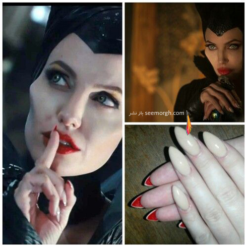 طراحي ناخن,مدل طراحي ناخن,مدل هاي طراحي ناخن,طراحي ناخن آنجلينا جولي,طراحي ناخن قرمز و کرم به سبک آنجلينا جولي Angelina Jolie