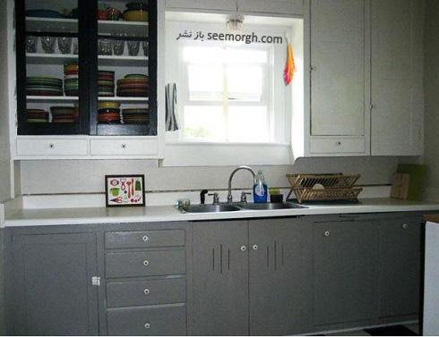 دکوراسیون آشپزخانه,جدیدترین دکوراسیون آشپزخانه,کابینت آشپزخانه,کابینت سیاه سفید,مدل کابینت آشپزخانه,آشپزخانه کوچک,