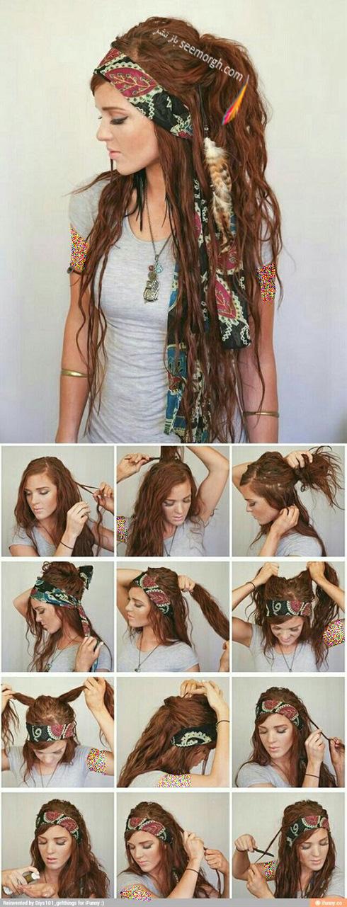 آموزش بستن هدبند,هدبند,سربند زنانه,دستمال سر,آموزش بستن دستمال سر,بستن دستمال سر پارچه ای,تل مو,آرایش مو زنانه,مدل مو بلند