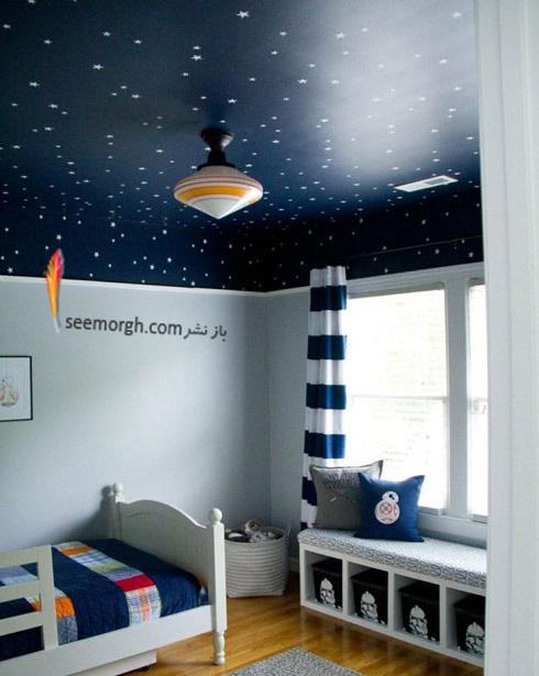 اتاق پسر بچه,دکوراسيون اتاق پسر بچه,نقاشي کهکشان در اتاق پسر بچه