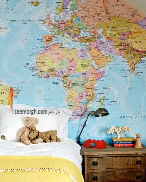 اتاق پسر بچه,دکوراسيون اتاق پسر بچه,نقشه جهان در اتاق پسر بچه