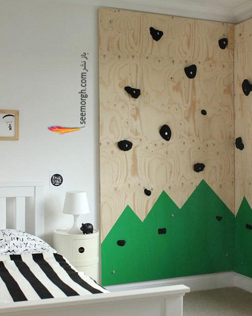 اتاق پسر بچه,دکوراسیون اتاق پسر بچه,دیوار صخره نوردی در اتاق پسر بچه