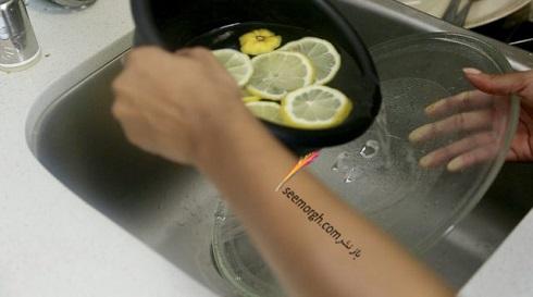 مایکروفر,تمیز کردن مایکروفر,تمیز کردن مایکروفر با لیمو,