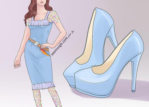 ست کردن رنگ کفش با رنگ لباس,اصول ست کردن رنگ کفش با رنگ لباس,انتخاب رنگ کفش دقیقا همرنگ لباس