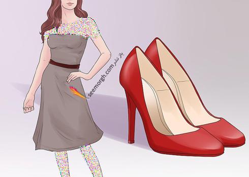 ست کردن رنگ کفش با رنگ لباس,اصول ست کردن رنگ کفش با رنگ لباس,انتخاب رنگ کفش روشن برای پیراهن تیره