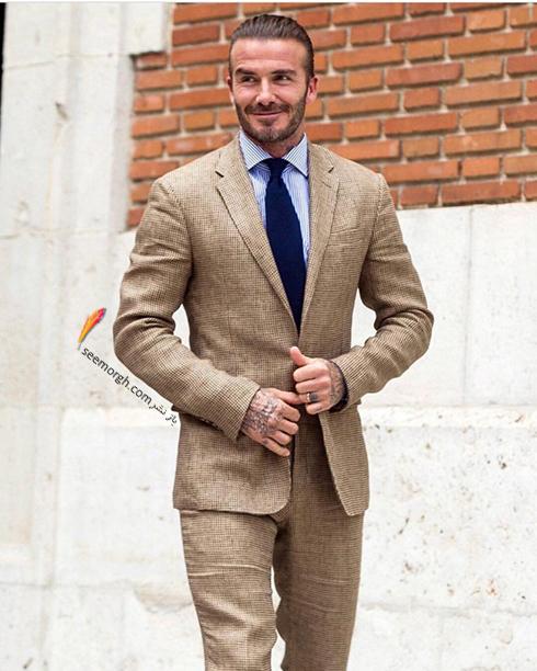 انتخاب لباس متناسب با استایل شخصی دیوید بکهام David Beckham,استایل شخصی دیوید بکهام,راز شیک پوشی دیوید بکهام,کت و شلوار دیوید بکهام