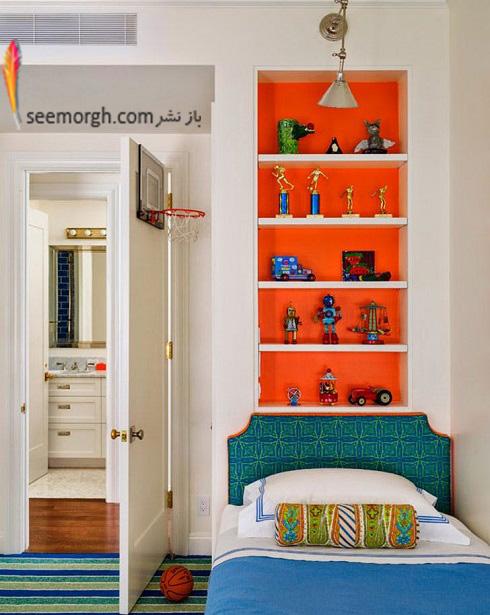 اتاق پسر بچه,دکوراسیون اتاق پسر بچه,قفسه های رنگی در اتاق پسر بچه
