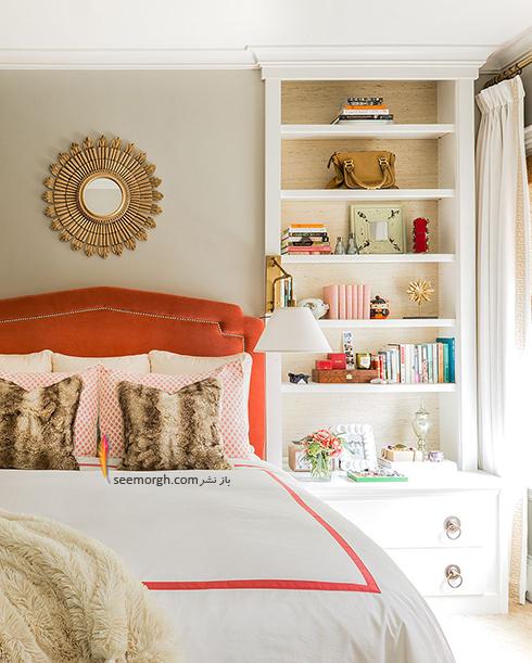 اتاق خواب,چیدمان اتاق خواب کوچک,اصول چیدان لوازم در اتاق خواب کوچک,استفاده از قفسه و شلف های دیواری در چیدمان اتاق خواب کوچک