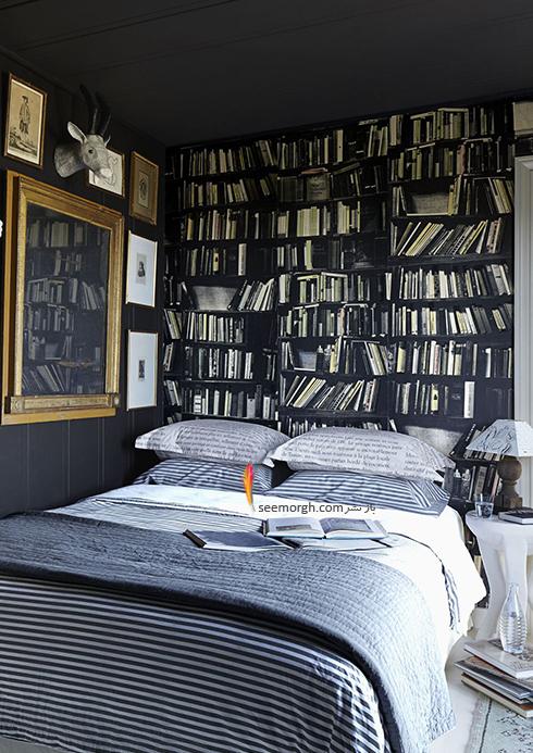 اتاق خواب,چیدمان اتاق خواب کوچکا,اصول چیدان لوازم در اتاق خواب کوچک,در اتاق خواب های کوچک، کاغذ دیواری با طرح کتابخانه بالای تخت خواب تان نصب کنید
