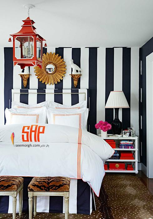 اتاق خواب,چیدمان اتاق خواب کوچکا,اصول چیدان لوازم در اتاق خواب کوچک,استفاده از کاغذ دیواری با طرح های عمودی در دکوراسیون اتاق خواب کوچک