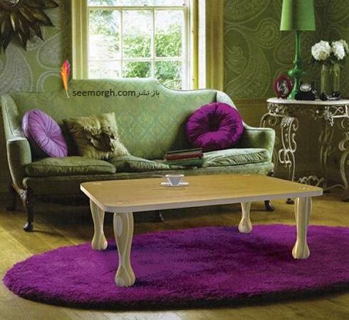 دکوراسیون داخلی,طراحی دکوراسیون داخلی,دکوراسیون داخلی منزل,ترکیب رنگ در دکوراسیون داخلی,سبز در دکوراسیون داخلی,اتاق نشیمن با دکوراسیون رنگی سبز و بنفش