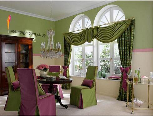 دکوراسیون داخلی,طراحی دکوراسیون داخلی,دکوراسیون داخلی منزل,ترکیب رنگ در دکوراسیون داخلی,سبز در دکوراسیون داخلی,دکوراسیون داخلی اتاق ناهار خوری با ترکیب سبز و بنفش