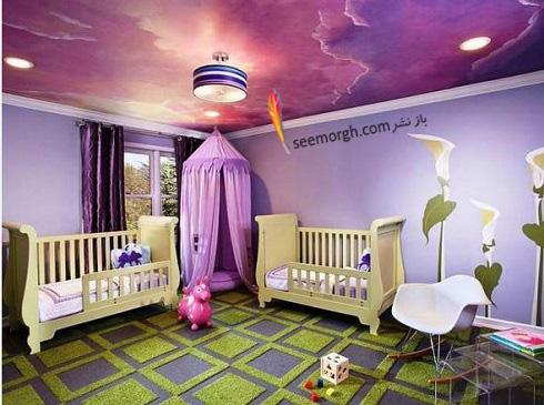 دکوراسیون داخلی,طراحی دکوراسیون داخلی,دکوراسیون داخلی منزل,ترکیب رنگ در دکوراسیون داخلی,سبز در دکوراسیون داخلی,رنگ اتاق کودک,دکوراسیون اتاق کودک با ترکیب سبز و بنفش