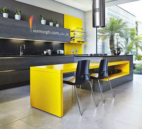 مدل کابینت,دکوراسیون داخلی,دکوراسیون داخلی آشپزخانه,آشپزخانه مدرن,کابینت زرد و قهوه ایی