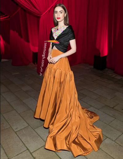مدل لباس  Lily Collins در جشن برند کارتیه Cartier 2018,برند کارتیه,ایونت برند کارتیه,مدل لباس در ایونت برند کارتیه,ایونت برند کارتیه 2018