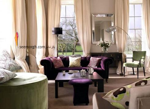 دکوراسیون داخلی,طراحی دکوراسیون داخلی,دکوراسیون داخلی منزل,ترکیب رنگ در دکوراسیون داخلی,سبز در دکوراسیون داخلی,دکوراسیون مدرن,دکوراسیون رنگی مدرن با ترکیب سبز و بنفش