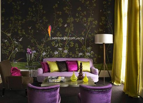 دکوراسیون داخلی,طراحی دکوراسیون داخلی,دکوراسیون داخلی منزل,ترکیب رنگ در دکوراسیون داخلی,سبز در دکوراسیون داخلی,دکوراسیون اتاق نشیمن با ترکیب سبز و بنفش