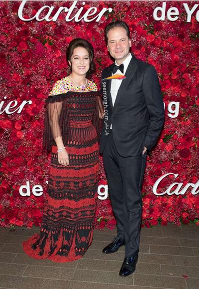 ایونت برند کارتیه,جشن برند کارتیه,ایونت برند کارتیه در موزه لوور,مدل لباس Mercedes Abramo و Max Hollein در جشن برند کارتیه Cartier 2018