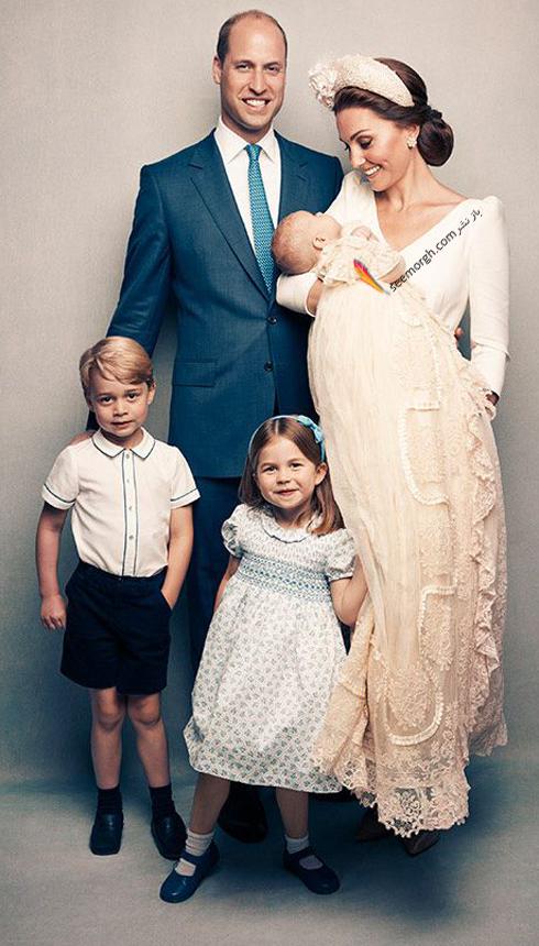 مراسم غسل تعمید,مراسم غسل تعمید پرنس لویی,عکس ها مراسم غسل تعمید پرنس لویی,عکس خانوادگی کیت میدلتون Kate Middleton و شاهزاده ویلیام William در مراسم غسل تعمید پرنس لویی Louis