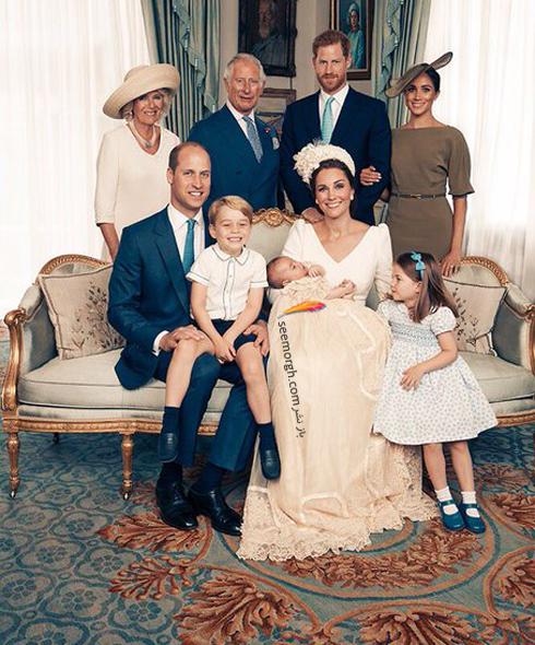 مراسم غسل تعمید,مراسم غسل تعمید پرنس لویی,عکس ها مراسم غسل تعمید پرنس لویی,عکس خانوادگی شاهزاده ویلیام William در مراسم غسل تعمید پرنس لویی Louis