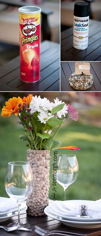 ساخت گلدان,درست کردن گلدان,آموزش ساخت گلدان,آموزش ساخت گلدان با وسایل دور ریختنی,ساخت گلدان سنگی