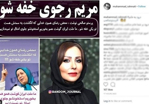 حمله تند پرستو صالحي به مريم رجوي, اينستاگرام پرستو صالحي
