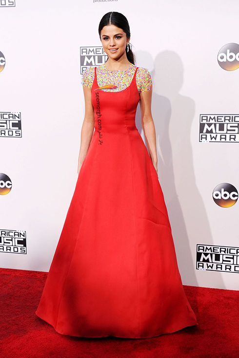 مدل لباس,مدل لباس سلنا گومز,سلنا گومز,مدل لباس به سبک سلنا گومز Selena Gomez - پیراهن ماکسی قرمز