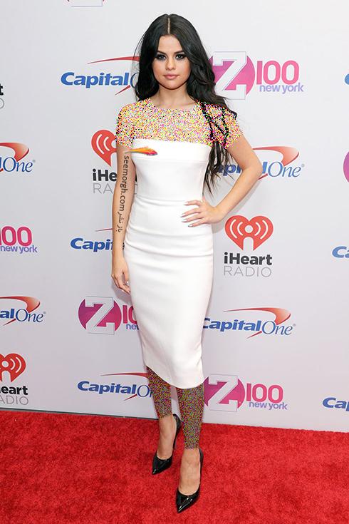 مدل لباس,مدل لباس سلنا گومز,بهترین مدل لباس سلنا گومز,مدل لباس به سبک سلنا گومز Selena Gomez - پیراهن سفید دکلته