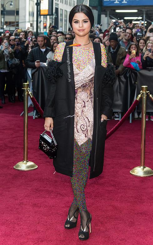 مدل لباس به سبک سلنا گومز Selena Gomez - پیراهن دو تکه مشکی بژ,مدل لباس,مدل لباس سلنا گومز,بهترین مدل لباس سلنا گومز