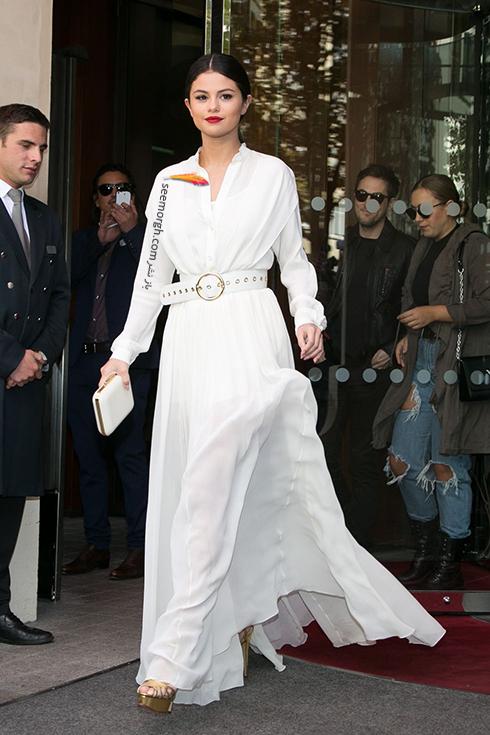 مدل لباس,مدل لباس سلنا گومز,سلنا گومز,مدل لباس به سبک سلنا گومز Selena Gomez - پیراهن ماکسی کمردار سفید