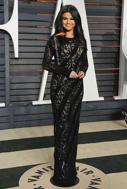 مدل لباس,مدل لباس سلنا گومز,سلنا گومز,مدل لباس به سبک سلنا گومز Selena Gomez - پیراهن مجلسی مشکی ماکسی