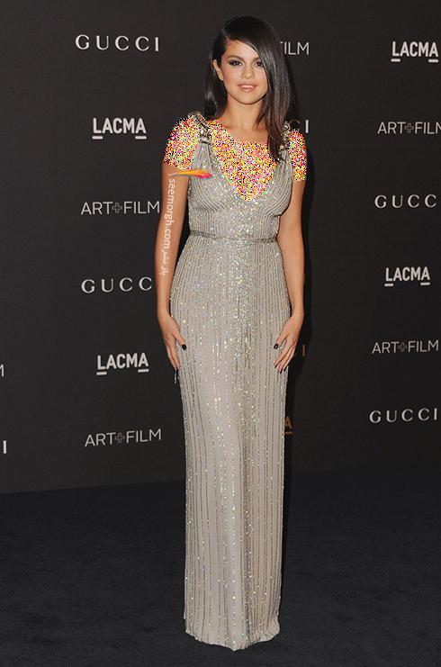 مدل لباس,مدل لباس سلنا گومز,سلنا گومز,مدل لباس به سبک سلنا گومز Selena Gomez - پیراهن مجلسی نقره ای